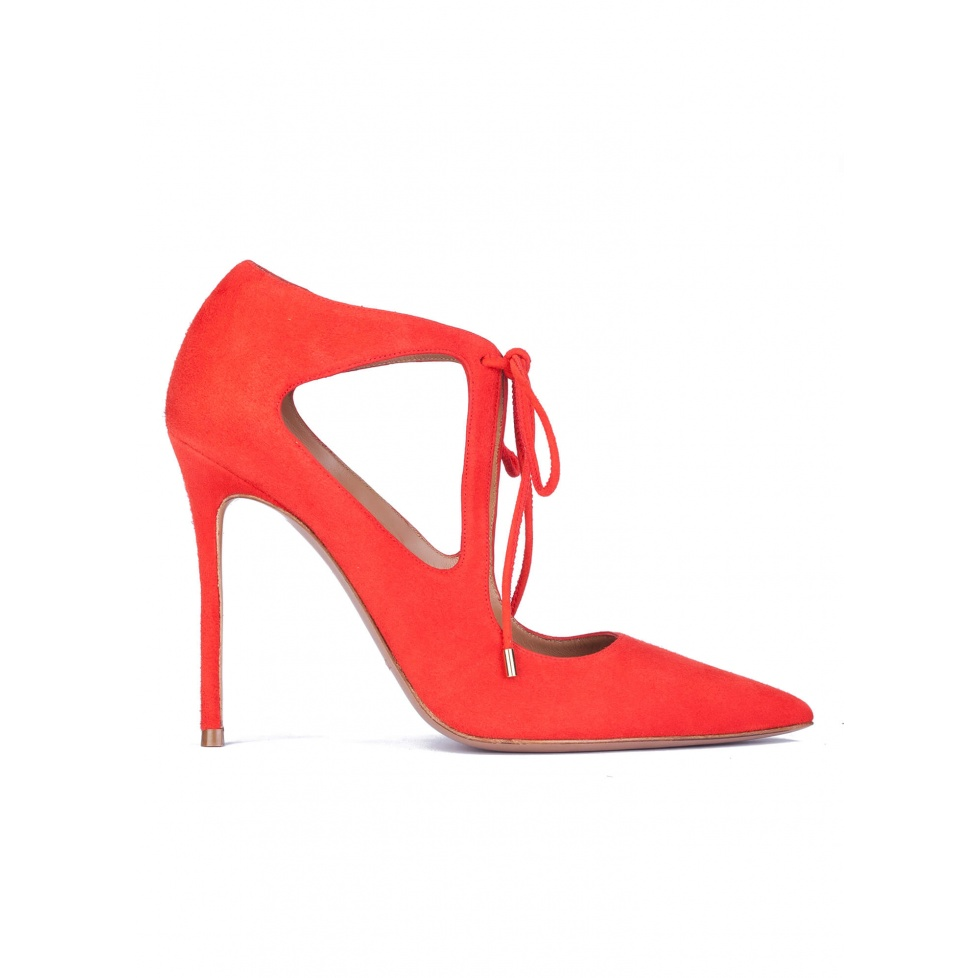 Cutout shoes in red suede with front ties