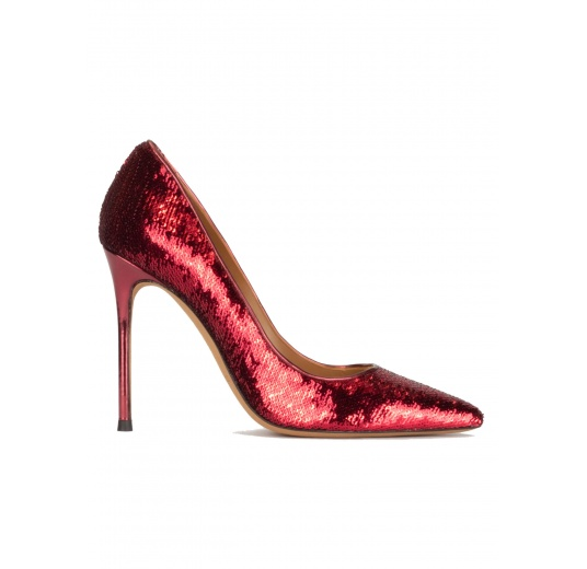 Red sequined pointy toe heeled pumps Pura López