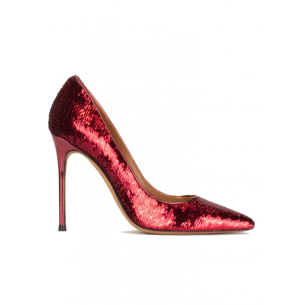 Red sequined pointy toe heeled pumps