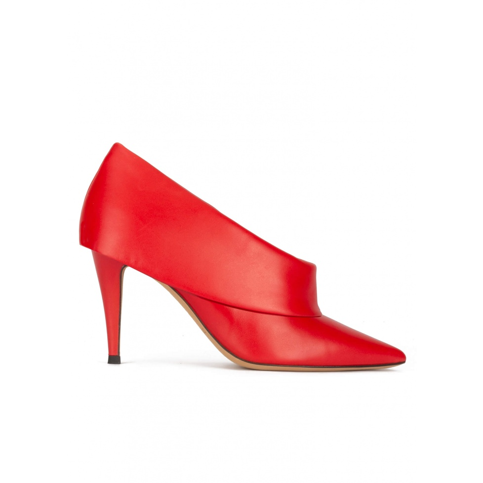 High heel shoes with folded panels in red leather