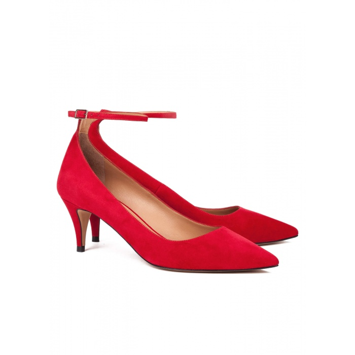 Red ankle strap mid heel pumps - online shoe store Pura Lopez