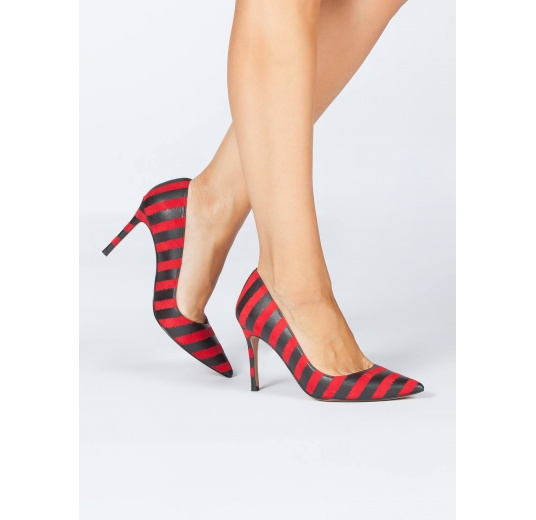 Striped high heel pumps in red and black printed leather Pura L�pez