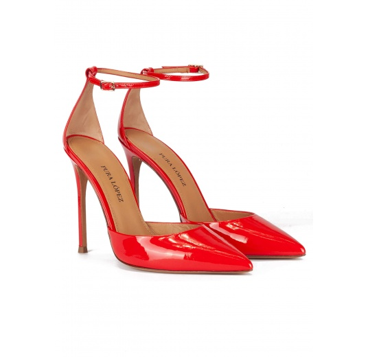 Ankle strap high heel pumps in red patent leather Pura L�pez