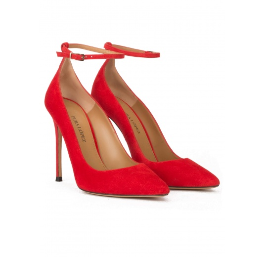 Ankle strap high heel point-toe shoes in red suede Pura L�pez
