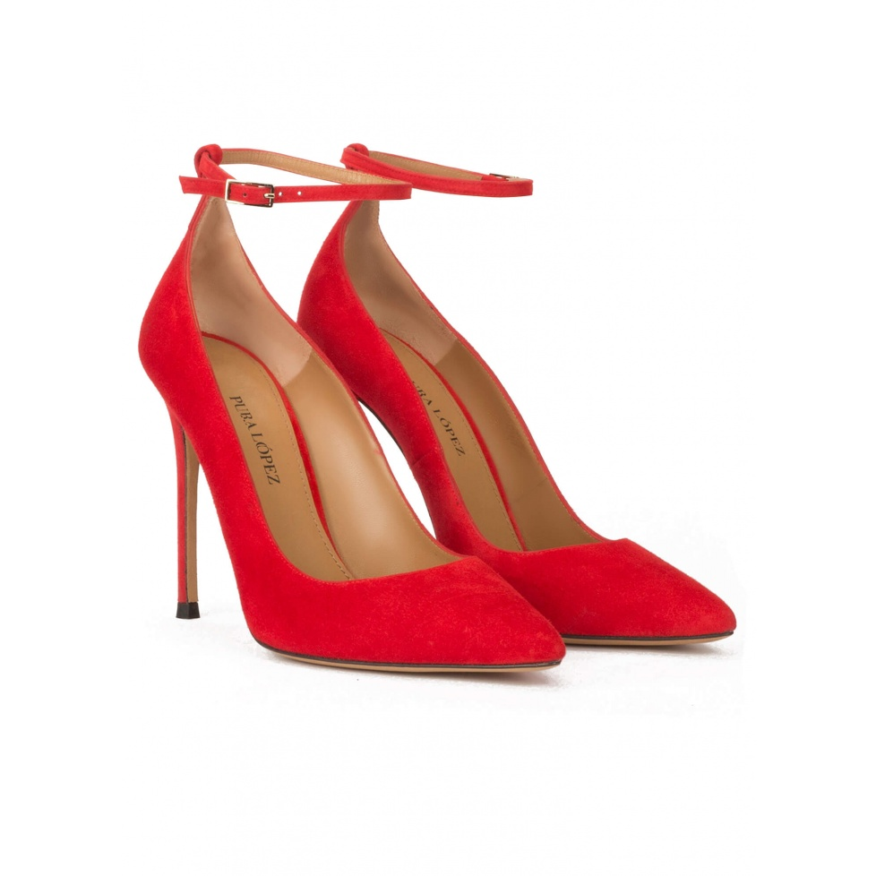 Ankle strap high heel point-toe shoes in red suede