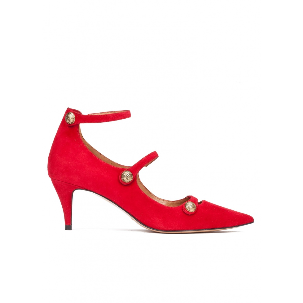 Button detailed ankle strap mid heel shoes in red suede
