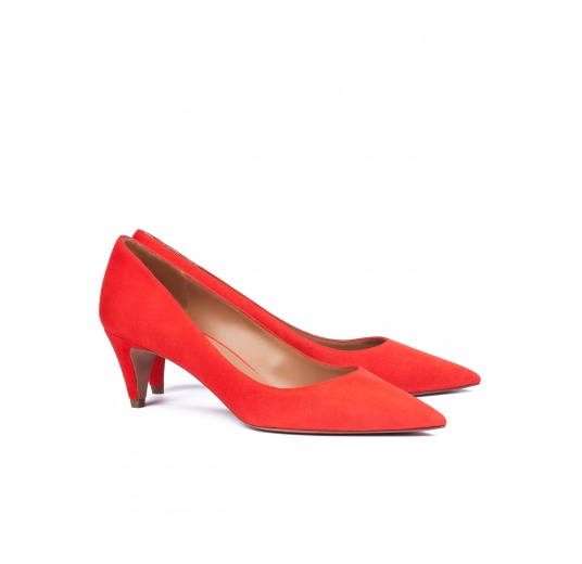 Mid heel pumps in red suede Pura L�pez