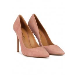 Zapatos de tacón stiletto y punta fina en ante rosa antik Pura López