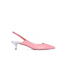 Zapatos destalonados de punta fina con tacón medio en piel rosa Pura López