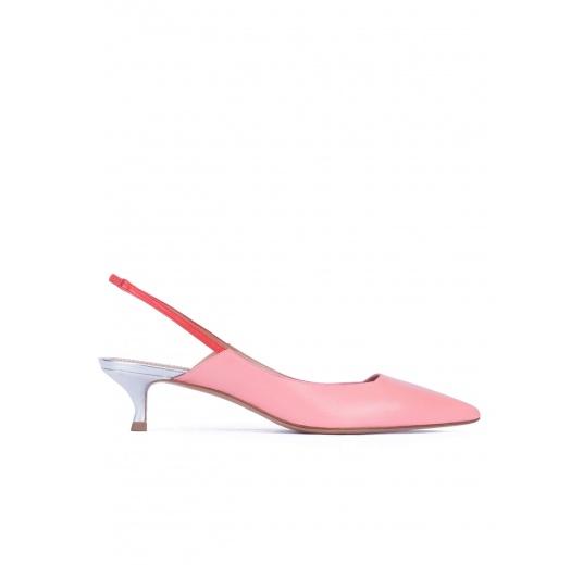 Zapatos destalonados de punta fina con tacón medio en piel rosa Pura L�pez