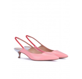 Slingback kitten heel pumps in pink leather Pura López