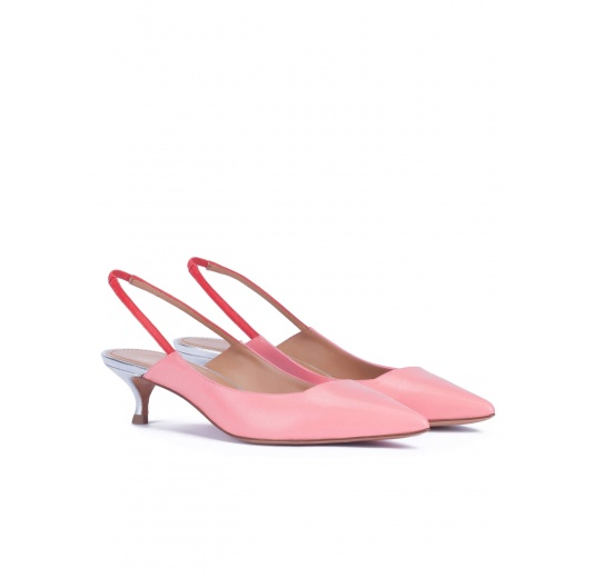 Slingback kitten heel pumps in pink leather Pura L�pez