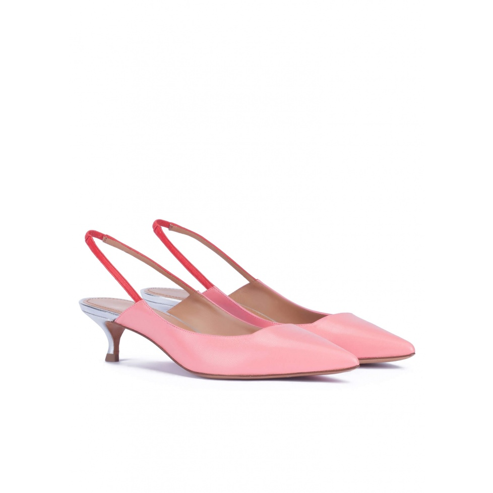 Slingback kitten heel pumps in pink leather