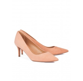 Mid heel pointy toe pumps in old rose suede Pura López