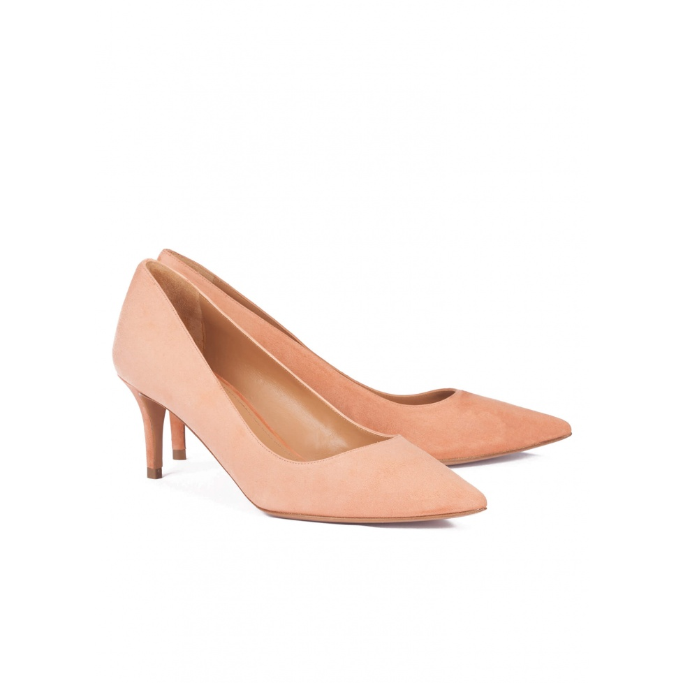Mid heel pumps in old rose suede - online shoe store Pura Lopez