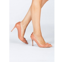 Zapatos de tacón en piel rosa antik con volantes Pura López