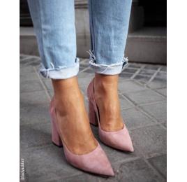 High block heel pumps in pink suede Pura López