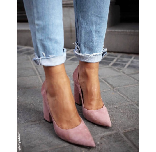 High block heel pumps in pink suede Pura L�pez