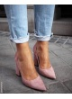 High block heel pumps in pink suede