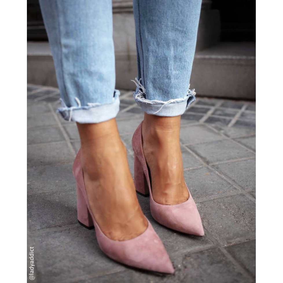 Pink high block heel pumps - online shoe store Pura Lopez