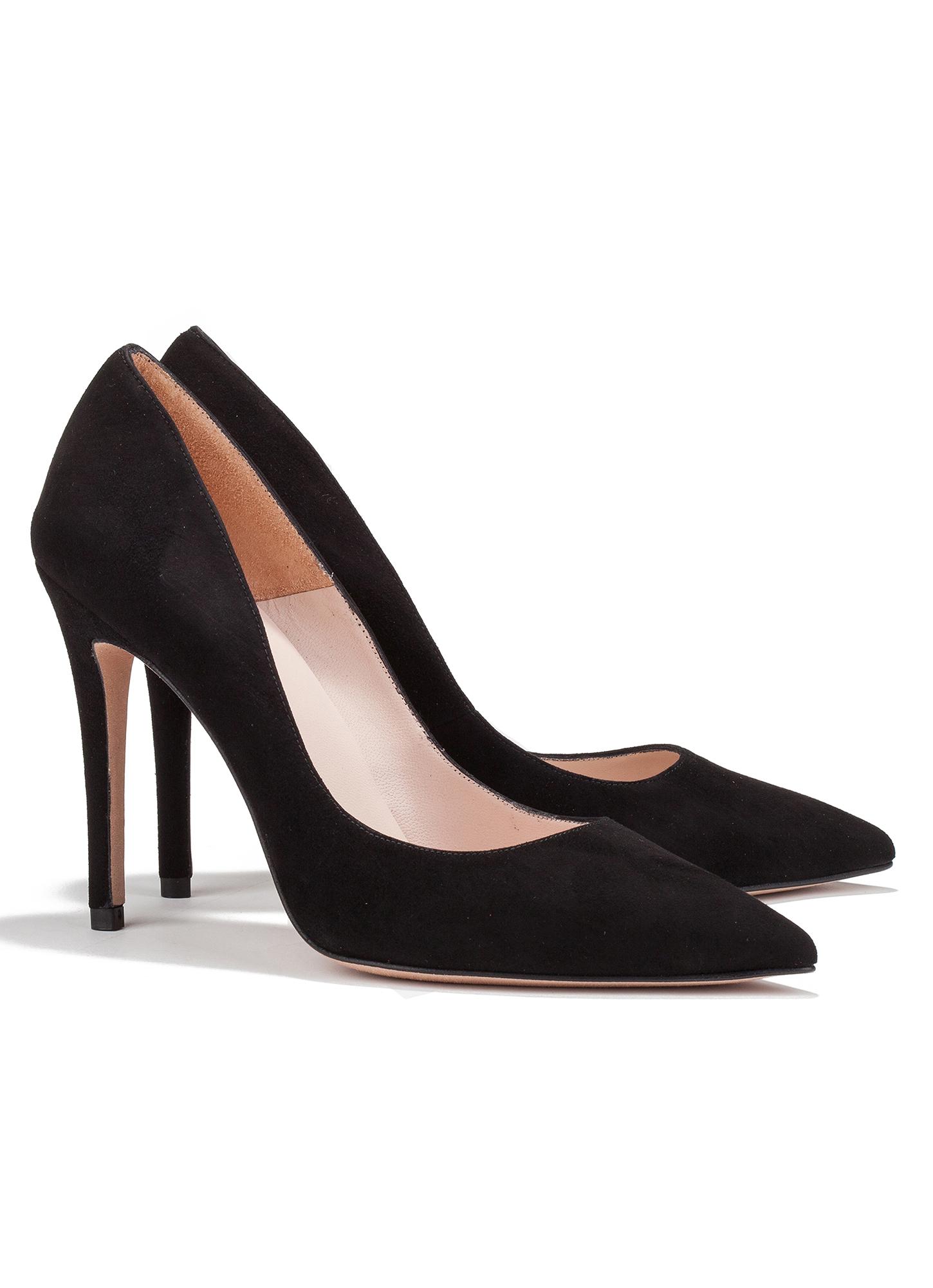 High heel pumps in black suede - online shoe store Pura ...