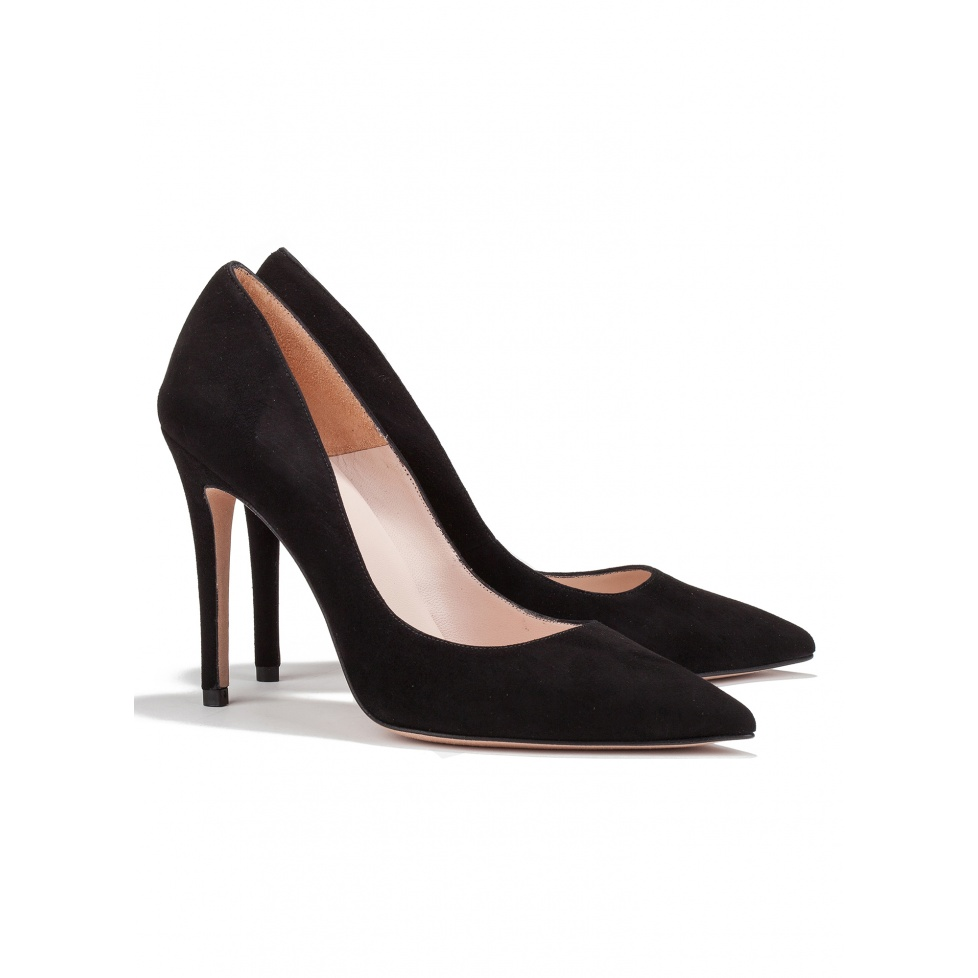 High heel pumps in black suede - online shoe store Pura Lopez