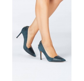 Pointy toe heeled pumps in petrol blue suede and leather Pura López