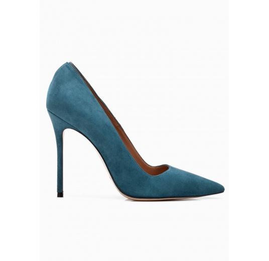 Zapatos de salón con tacón alto en ante azul petróleo Pura López