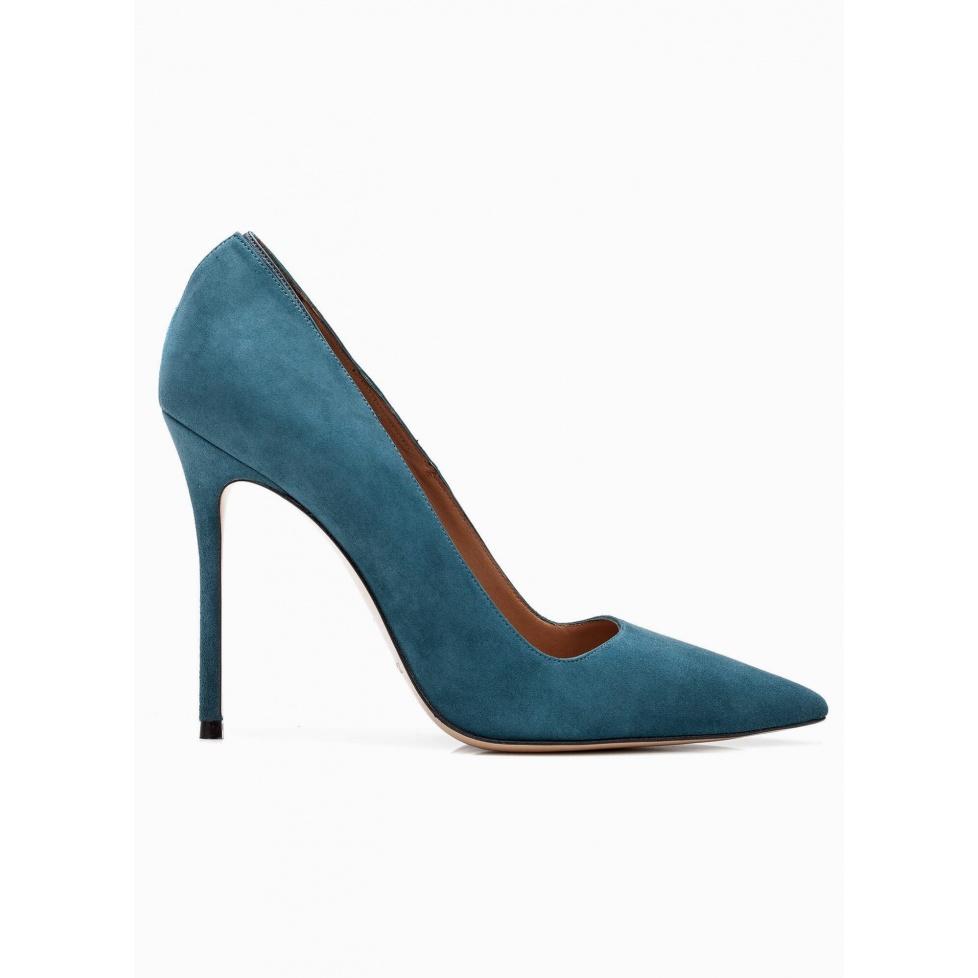 Zapatos de salón con tacón alto en ante azul petróleo