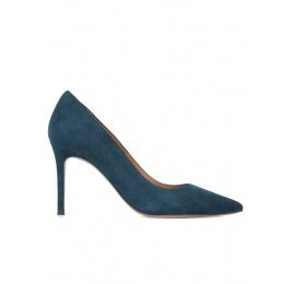Zapatos de salón en ante azul petróleo Pura López