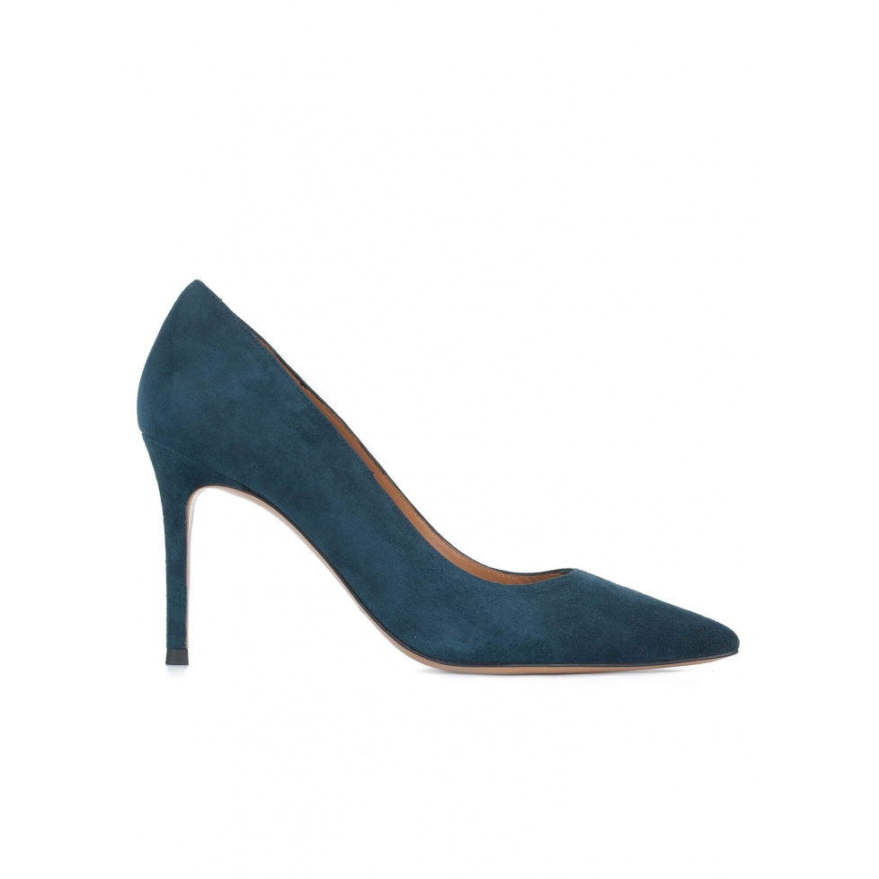 Petrol blue suede pointy toe pumps