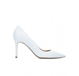 White calf leather pointy toe pumps Pura López