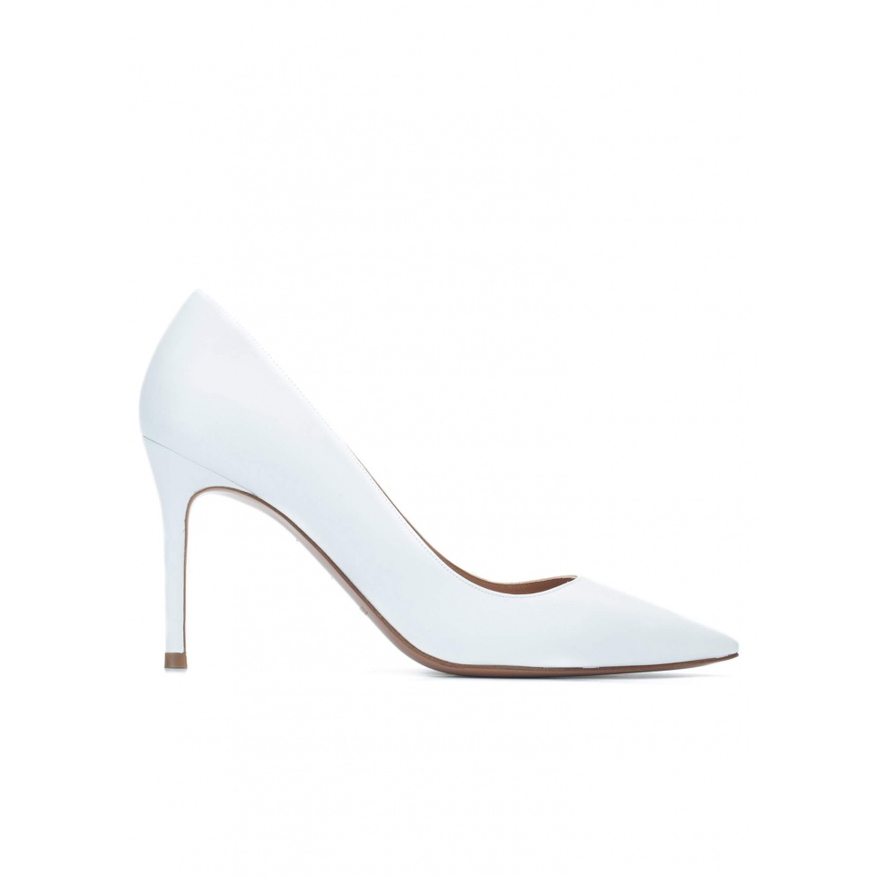 White calf leather pointy toe pumps