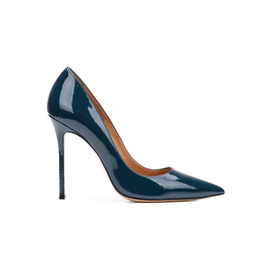 High heel pumps in petrol blue patent leather Pura L�pez