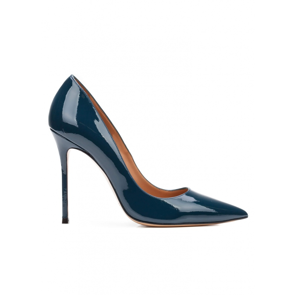 High heel pumps in petrol blue patent leather