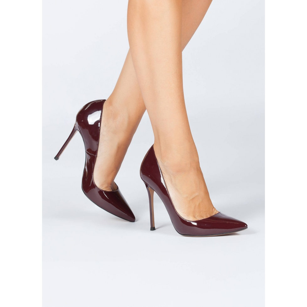 High heel pointy toe pumps in burgundy patent leather