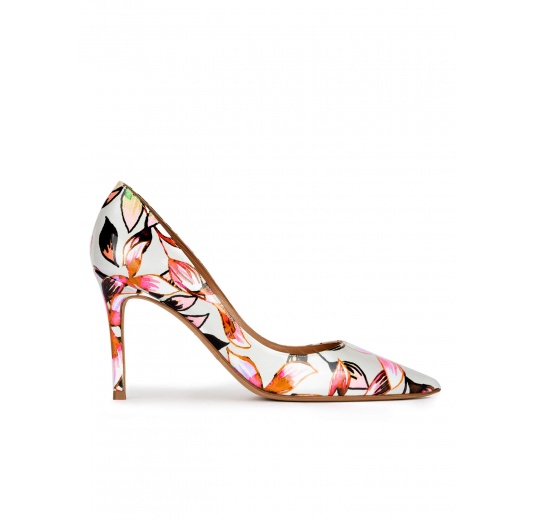 Pointed toe high heel pumps in floral print fabric Pura López