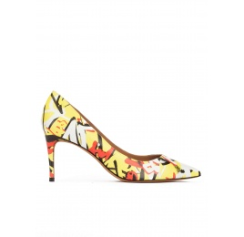 Graffitti print point-toe mid heel pumps Pura López