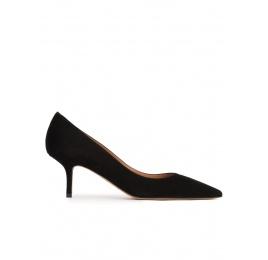 Zapatos negros de tacón medio en ante Pura López