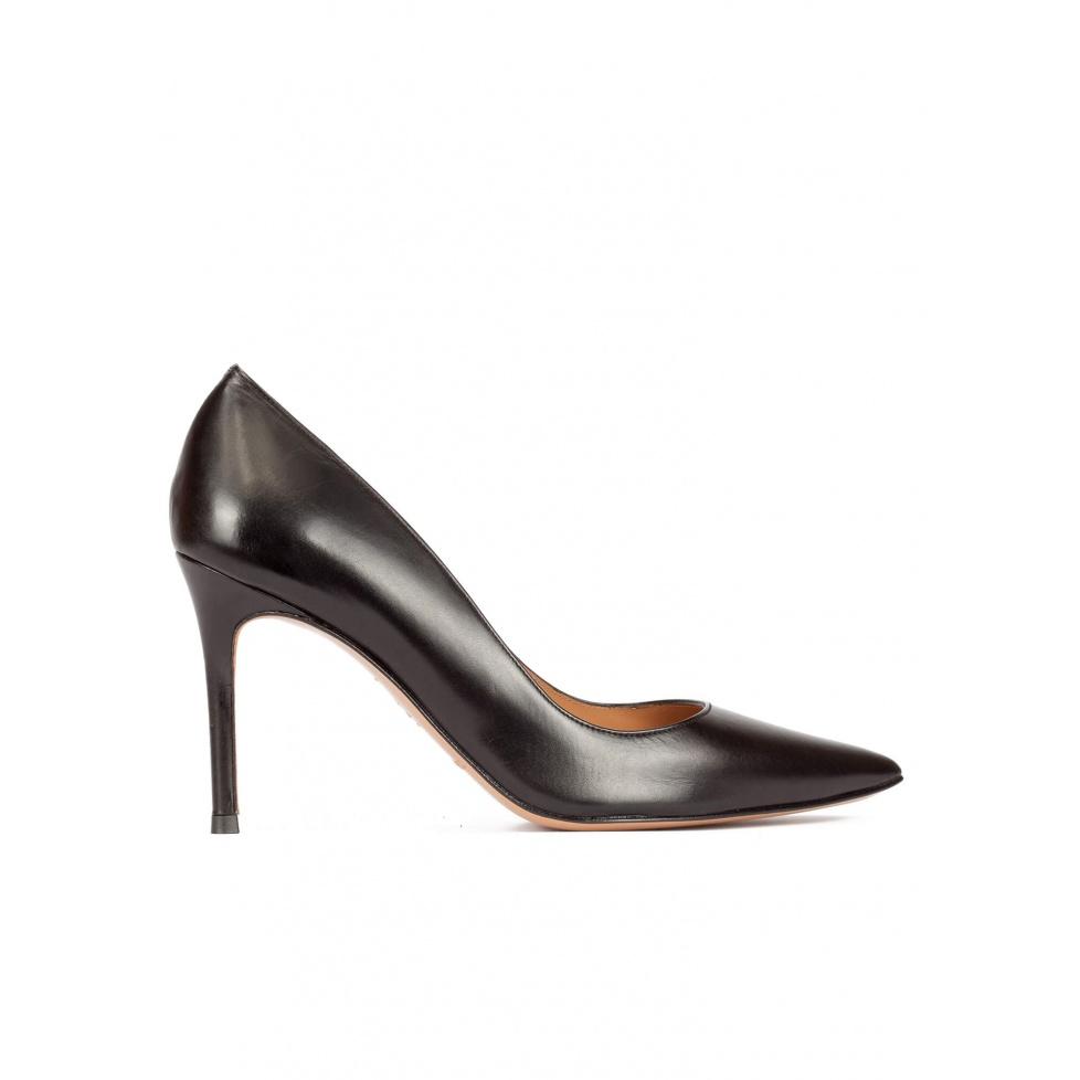 High heel pumps in black calf leather