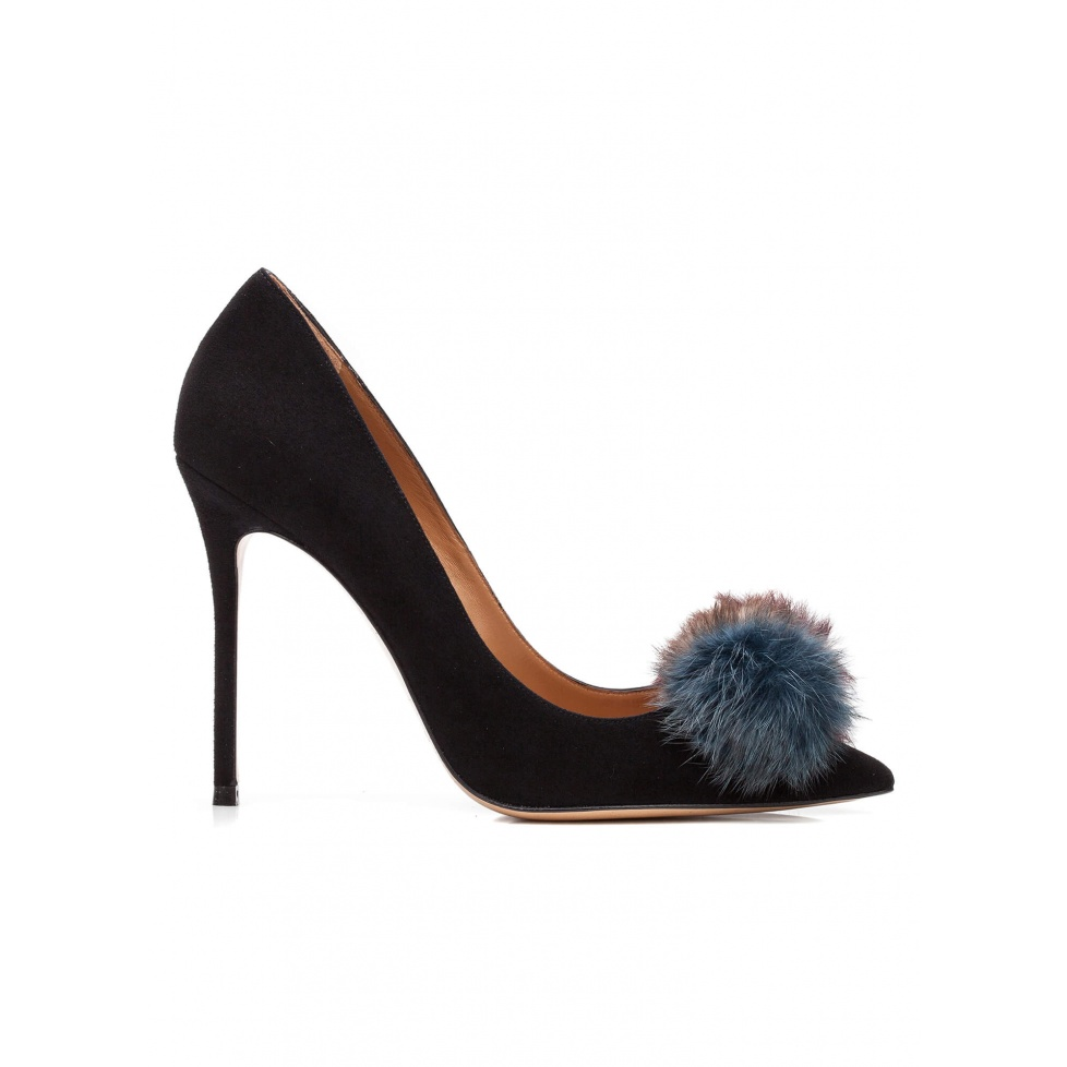Pompom-embellished high heel pumps in black suede