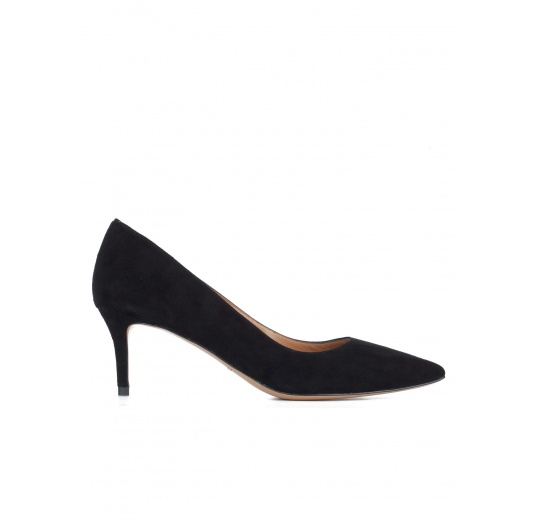 Mid heel pumps in black suede Pura López