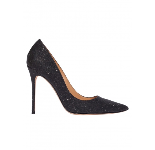 Zapatos de salón con tacón alto en glitter negro Pura L�pez