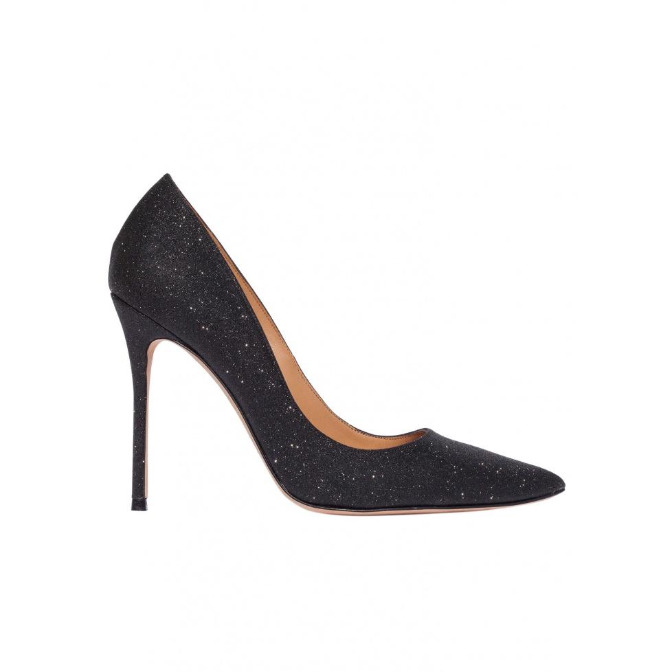 High heel pumps in black glitter