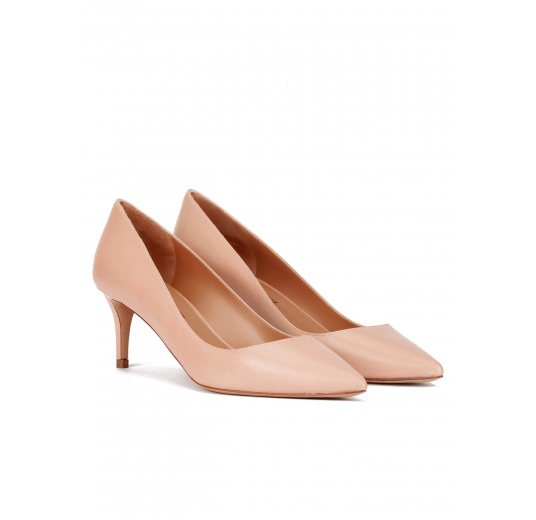Mid heel pumps in nude calf leather Pura L�pez