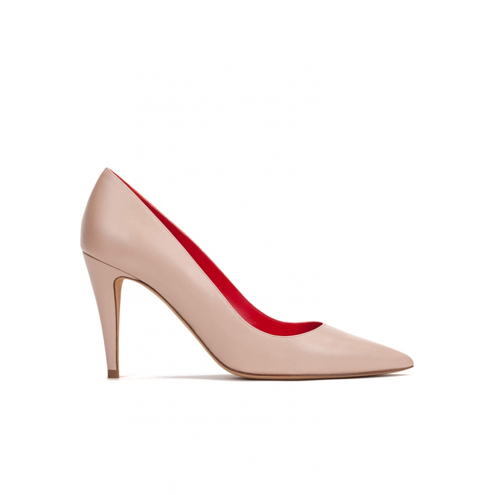 High heel pumps in nude leather