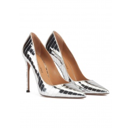 Stiletto heel pinty toe pumps in striped shiny silver fabric Pura López