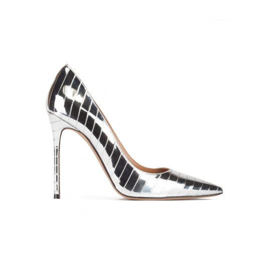 8d165c766 Stiletto heel pinty toe pumps in striped shiny silver fabric Pura L pez ...