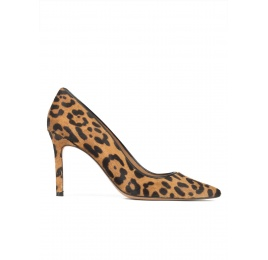 High stiletto heel pointy toe pumps in leopard print hair Pura López
