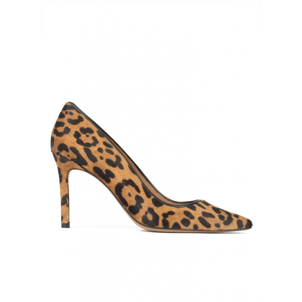 High stiletto heel pointy toe pumps in leopard print hair